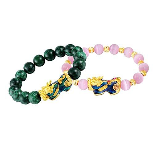 F Fityle 2Pcs Feng Shui Prosperity Obsidian Bead Pixiu Pulsera Suerte Joyería Verde + Rosa
