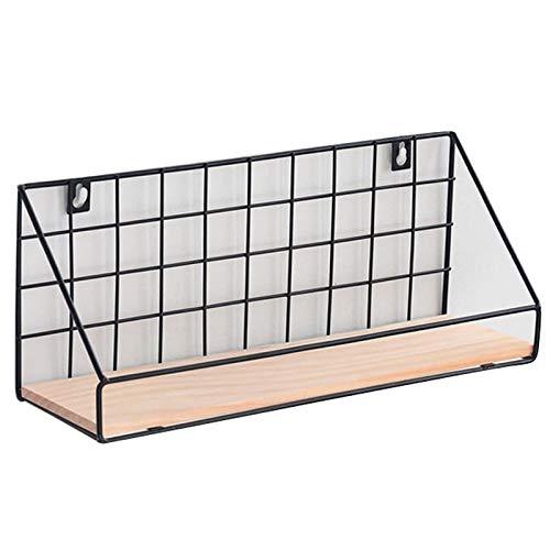 Gaoominy Estante de almacenamiento de hierro nórdico de madera para sala de estar, cocina, baño, soportes de almacenamiento antideslizantes para colgar en la pared, decoración del hogar, 1 unidad