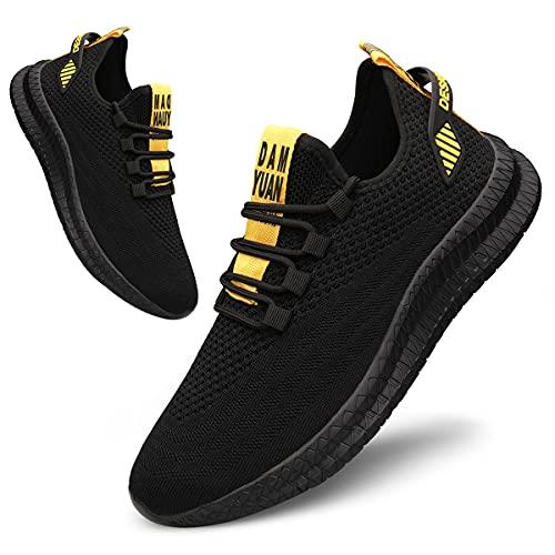 Tvtaop Schuhe Herren Laufschuhe Sportschuhe StraßEnlaufschuhe Sneaker Turnschuhe Trainer Walkingschuhe Joggingschuhe Traillauf Fitness Schuhe, Blackyellow, 44 EU