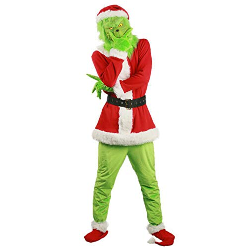 Aoibox Adult Green Monster Christmas 7PCS Costume Set - Including Mask (Large)