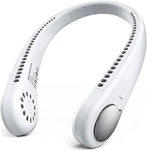 KACC Ventilador de cuello personal, manos recargables Mini ventiladores portátiles sin broca, 3 velocidades 48 salida de aire, Ajuste gratuito Ventilador de refrigeración personal, Ventilador de cuell
