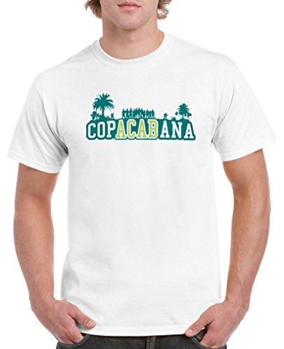 Comedy Shirts - Copacabana Palmen - Herren T-Shirt - Weiss/Türkis-Hellgrün Gr. XL