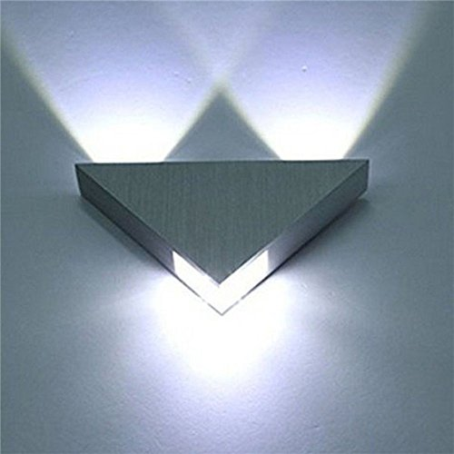 FeiliandaJJ Wandleuchte 3W Dreieck LED Wandlampe im modern Stil Aluminium Wandlicht Aussenleuchte Wand Wandbeleuchtung für Wohnzimmer Schlafzimmer Treppenhaus Flur (Silber)