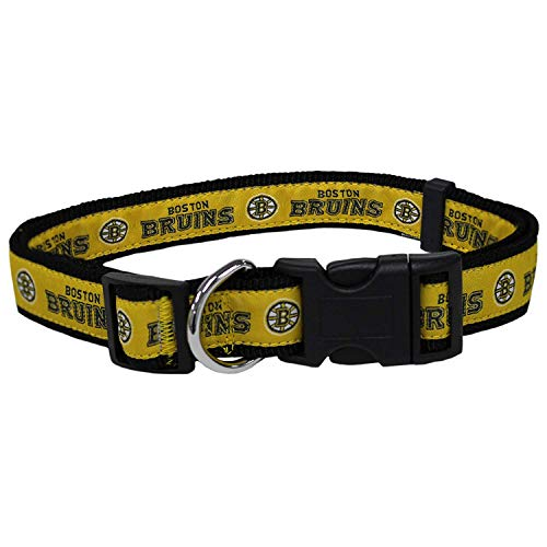 Pets First NHL Boston Bruins Collar for Dogs & Cats, Small. - Adjustable, Cute & Stylish! The Ultimate Hockey Fan Collar!