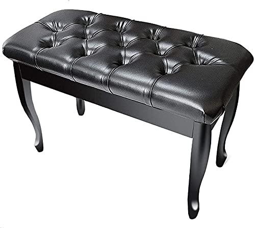 QDY Piano Pall Piano Bänk med Pu Läder Trä Piano Bänk Pall med Förvaring Pu Kudde Förvaring Funktion Vattentät Pu Läder