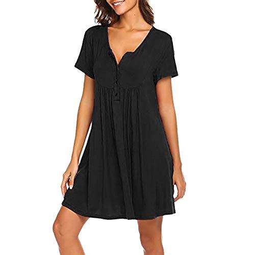 ORQ camisón de maternidad para mujer, cuello en V, manga corta, longitud a la rodilla, camisón de maternidad, enfermería, hospital, camisón de dormir Negro Negro ( XL