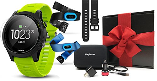 Garmin Forerunner 935 (Tri-Bundle) Gift Box | Includes HRM Tri & Swim Chest Straps, Extra Watch Band, HD Screen Protector Film, PlayBetter USB Car/Wall Adapters, Protective Case | GPS Running Watch