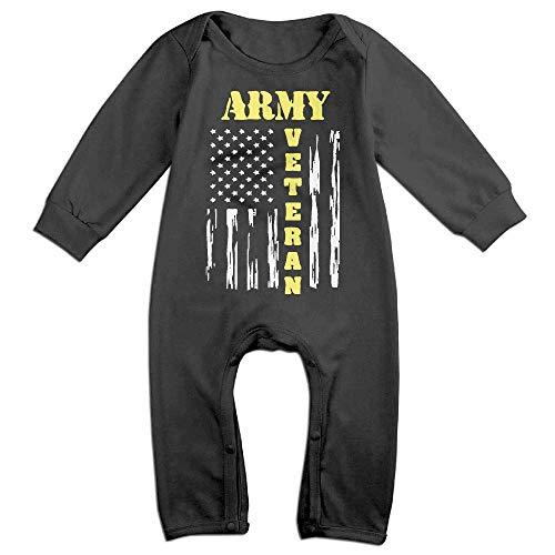 TOPDIY US Army Veteran - Distressed American Flag Long Sleeve Baby Bodysuit Bodysuit