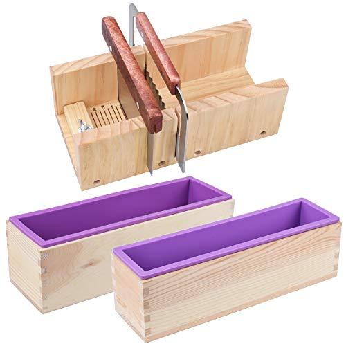 AOFOX Juego de cortador y molde de madera para jabón - 2 piezas de molde de silicona rectangular de diferentes tamaños y 1 pieza de cortador recto y cortador de ondas de acero inoxidable