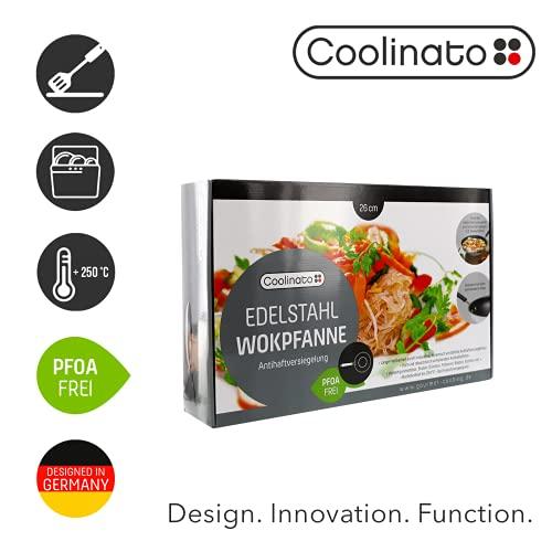 Coolinato Pan 26cm de acero inoxidable recubierto wok, wok para gas de inducción de vitrocerámica y horno, apto para lavavajillas