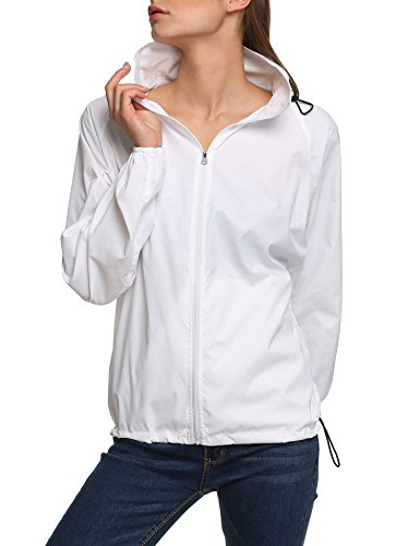 New fashion Waterproof Climbing Running Outdoor Hoodie Coat Sport Cycling Jacket, White, Medium