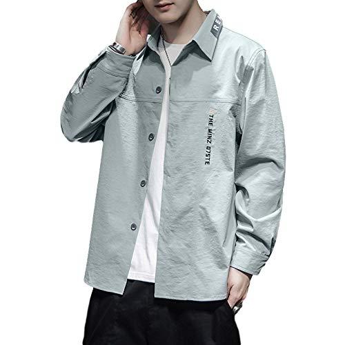 Camisa de Manga Larga para Hombre Chaqueta clásica de un Solo Pecho Color sólido Carta de Moda Bordado Camisa Casual de Primavera y otoño Large