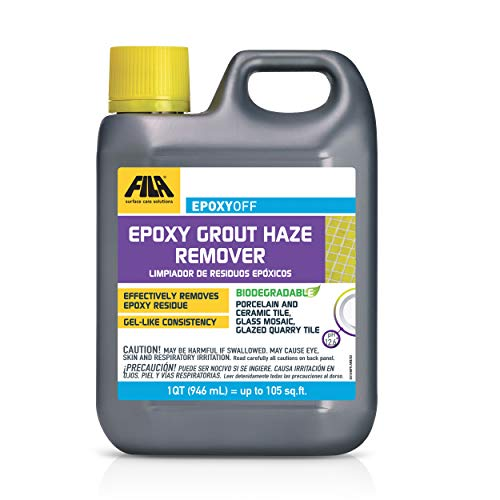 FILA EPOXYOFF, Epoxy Grout Haze Remover, Effectively Removes Epoxy Residue, The Product Can Be Applied on Vertical Surfaces, 1 QT