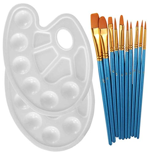 Veczom Acrylic Paint Brushes 10 Pcs Nylon Hair Artist Brush 4 Pcs Tray Palettes for Acrylic Oil Watercolor, Face Nail Art, Rock Painting,Gouache Artists,Kids, Adults Paintbrushes (10 Pack 2 Palette)