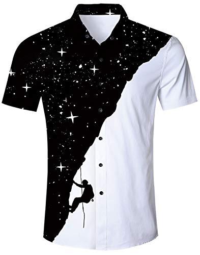 PJ PAUL JONES Mens Short Sleeve Button Down Plaid Shirt Casual Gingham Poplin Shirts Black M