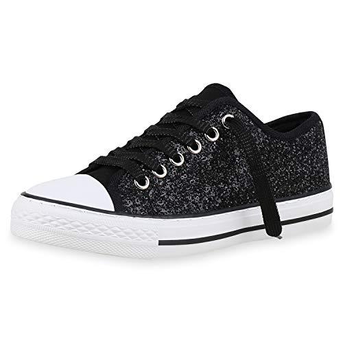 SCARPE VITA Damen Sneaker Low Black Turnschuhe Schnürer Freizeit Schuhe 174283 Schwarz Black 36
