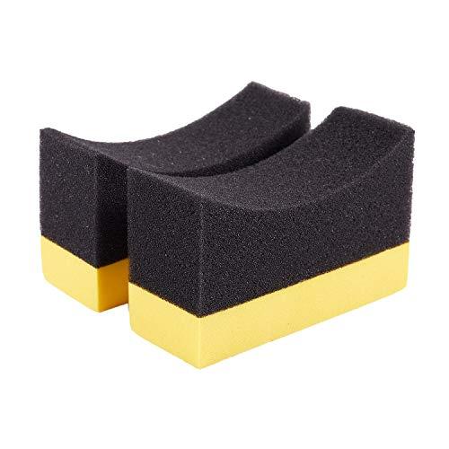momok 2X Contorneado Auto Wheels Cepillo Esponja Herramientas Aplicador Especial para NeumáTico Cubo Limpieza ApóSito Encerado Pulido Amarillo + Negro