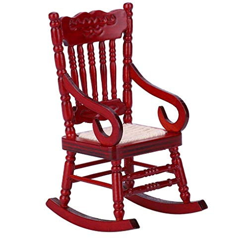 1.12 mini schommelstoel woondecoratie miniaturen fauteuil poppenmeubeltjes ornament Wood Props