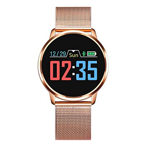 Adsvtech Smartwatch, Impermeable Reloj Inteligente Mujer Hombre, Pulsera Actividad Inteligente Reloj Deportivo Reloj Fitness con Monitor de sueño Pulsómetro Cronómetros para iOS Android (Oro)