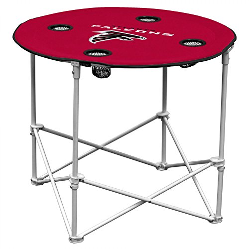 NFL Logo Brands Atlanta Falcons Collapsible Round Table with 4 Cup Holders and Carry Bag, Team Color