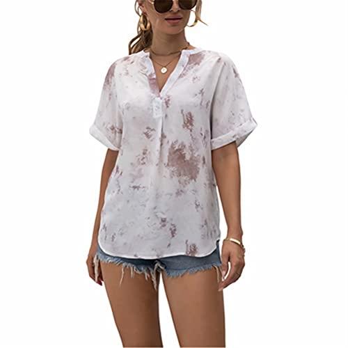 ZFQQ Camisa de Gasa con Cuello en V y Estampado de teñido Anudado para...