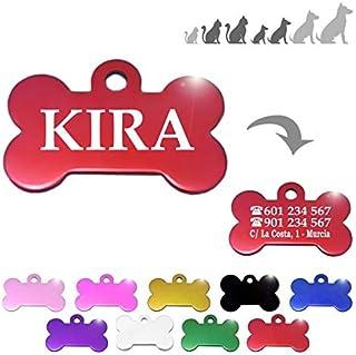 Hueso para Mascotas pequeñas-Medianas Placa Chapa Medalla de identificación Personalizada para Collar Perro Gato Mascota g...
