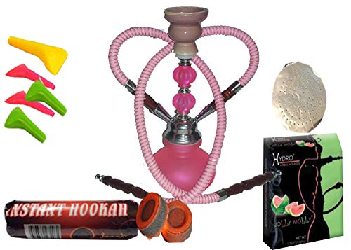 """2 Hose Hookah Neon, Two Styles -12"""" Height, Cute Shape only Assorted 1 Hookah 25 foil Paper - Charcoal roll, 5 Mouth Tips, Tong and Flavor (Style 1, Pink and Watermelon)"""