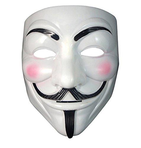 GEEKSLIFE Máscara ANÓNIMA - Anonymous - V para Vendetta - REVOLUCIÓN - Blanca