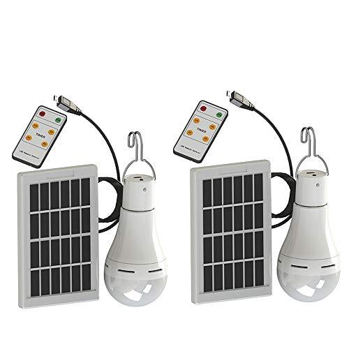 2 stück Chaozan® Solarleuchten Lampe 9W LED 350LM Solar Glühbirne Solarlampen tragbare Lämpchen Licht Birne für Camping Wandern Lesen Zelt Angeln Beleuchtung außen Innen Garten