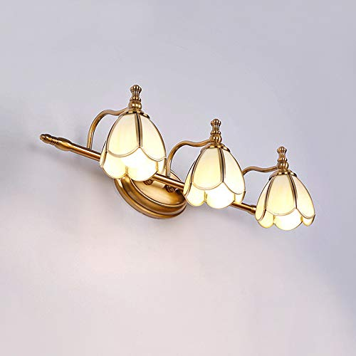 VANLAMP LED Spiegelleuchte Badezimmer, 15W Spiegellampe Schminklicht Bad Retro Wandleuchte Lampenschirm aus Acryl in Blütenform Badleuchte für Möbel Spiegel Kosmetikspiegel Schrank Beleuchtung