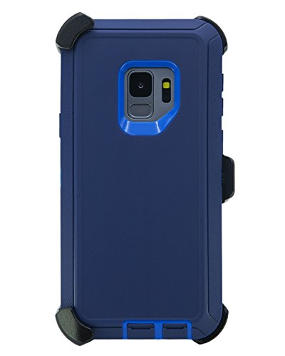 "WallSkiN Turtle Series Belt Clip Cases for Galaxy S9 (5.8""), 3-Layer Full Body Life-Time Protective Cover & Holster & Kickstand & Shock, Drop, Dust Proof - Navy Blue/Blue"