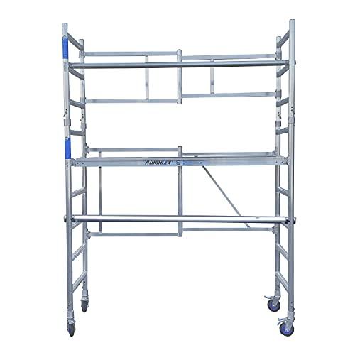 Alumexx Klappgerüst ALX FS 75 - Alugerüst - Rollgerüst - Gerüst - Baugerüst - Hohe Qualität: N-EN 1004 TÜV-Zertifikat (Arbeitshöhe 4 bis 8 Meter) (4 Meter Arbeitshöhe)