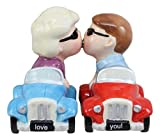 Ebros I Love You Valentines Couple Kissing In Cars Magnetic Salt And Pepper Shakers Set Ceramic Figurines Party Kitchen Tabletop Collectible Decor
