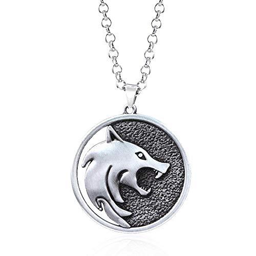 selfdepen Medallón de Cabeza de Lobo, Collar de Lobo Cadena de medallón de Cabeza de Lobo Cosplay...