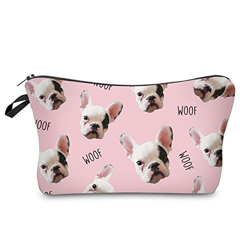 Makeup Toiletry Cosmetic Travel Carry Bag Zippered Luggage Pouch Multifunction Make-up Bag Pencil Holder Organizer For Men and Women Girls Kids (Cute Many Dogs)