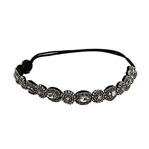 Lurrose Vintage Retro hoofdbanden kristal bruid haarbanden haaraccessoires voor vrouwen meisjes (zwarte parel)