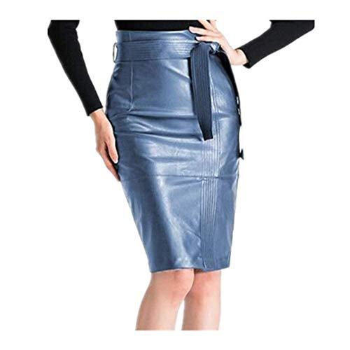 N\P Falda de cuero sexy de cintura alta de cuero de las mujeres de las mujeres con cinturón lápiz falda