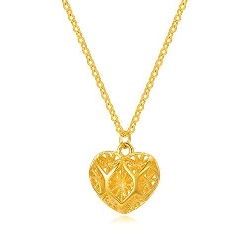 SISGEM 18k Gold Heart Necklace for Women, Dianty Hollow Pendant Love Anniversary...