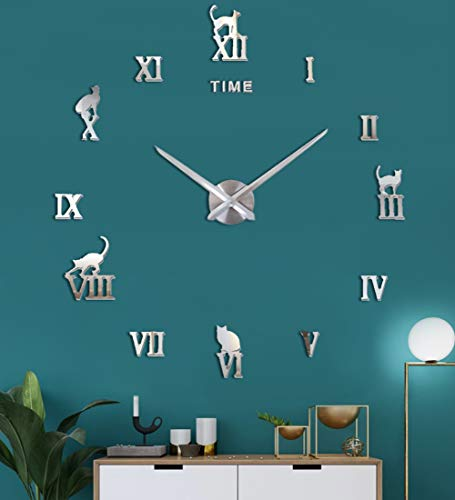 SIEMOO 3D DIY Wall Clock Kits, Large Frameless Modern Wall Clock with Mirror Wall Stickers Cat Clock for Home Living Room Office Kitchen Office Decoration (Silver)
