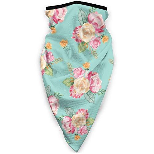 16-in-1 hoofdband, bandana met bloemenpatroon, blauw en groen, voor yoga, vissen, sport.