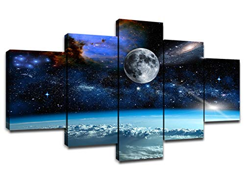 5 Pieces Canvas Art Outer Space Universe Planet Earth Galaxy Stars Pictures...