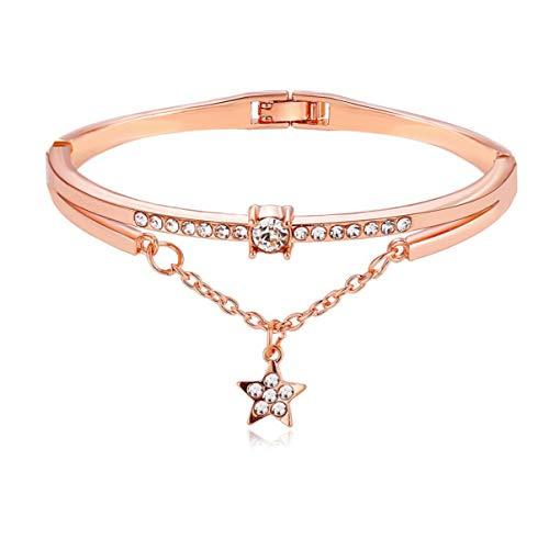 Happyyami Brazalete Vintage Aleación Cristal Estrella Brazalete Moda Rhinestone Pulsera Creativa Mano Cadena Pulsera Regalo Joyería para Mujeres Damas Cumpleaños Boda (Oro Rosa)