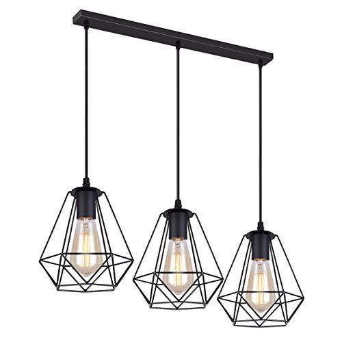 iDEGU - 3 lámparas de techo vintage de 20 cm, lámpara colgante de metal, pantalla de lámpara en forma de jaula con soporte de barra, color negro (3 luces – 50 cm)