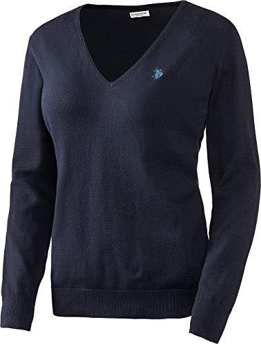U.S. POLO ASSN. Damen Baumwoll Pullover mit V-Ausschnitt in Dunkelblau, angenehm zu tragen und sehr hautfreundlich, Größe: S-XL, Menge: 1 Stück