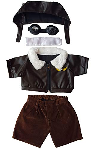 """Pilot Outfit with Goggles Teddy Bear Clothes Fits Most 14"""" - 18"""" Build-a-bear and Make Your Own Stuffed Animals"""