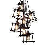 Lámpara Colgante De Techo,Lámpara De Araña Colgante Sala,Plafón De Techo Dormitorio,Lámpara De Cubo Mágico De Jaula De Hierro De Estilo Industrial Retro 7 Cabezas