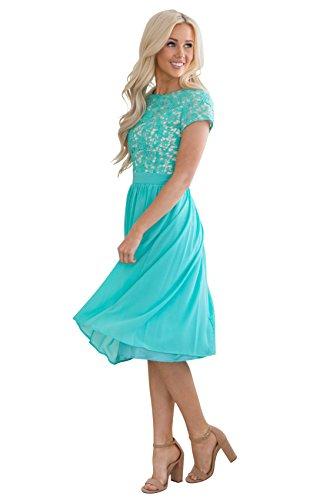 Olivia Lace & Chiffon Modest Dress in Turquoise, Tiffany Blue or Aqua - XXL, Modest Semi-Formal Dress, Prom or Bridesmaid Dress in Aqua