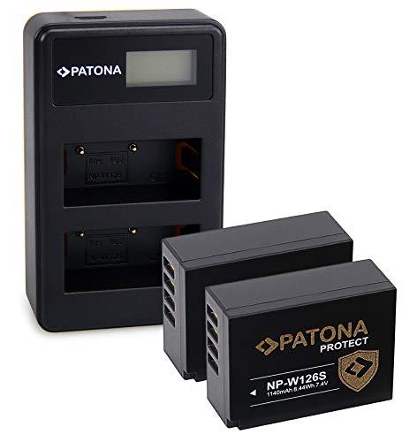 PATONA 2x Protect Batteria NP-W126S con Caricatore doppio LCD USB compatibile con Fujifilm FinePix HS50EXR HS30EXR X-T100 XPro-3