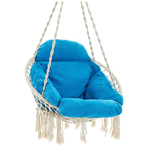 XiYou Hammock Chair Swing, Max 264 Lbs, Hanging Cotton Rope Hammock Swing Chair for Indoor and Outdoor Use (Beige)