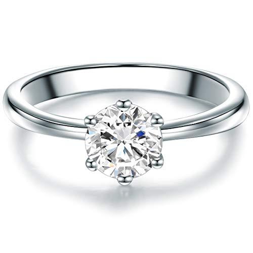 Tresor 1934 Damen-Solitärring Sterling Silber Zirkonia weiß im Brillantschliff - Verlobungsring Vorsteckring Trauring Silberring mit Stein